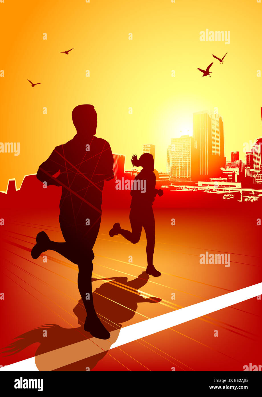 A man and women running on a sunny evening with the city in the background. - Stock Image