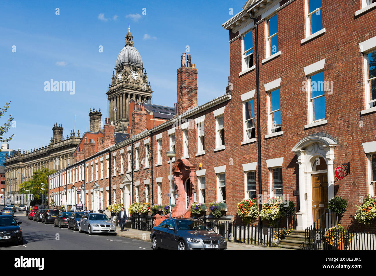 Park Square with the Town Hall clock tower behind, Leeds, West Yorkshire, England - Stock Image