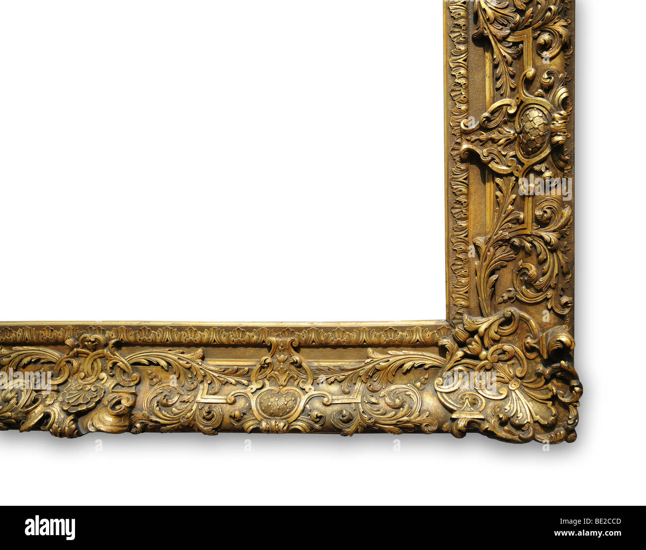 Corner of vintage gold frame with space for ad - Stock Image