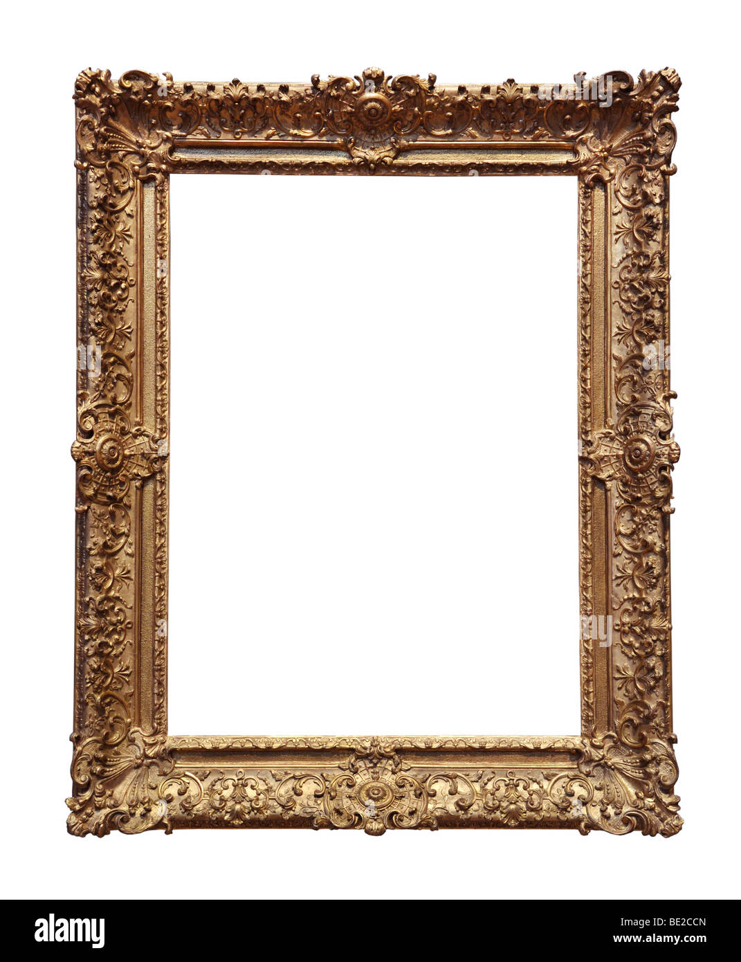 Ornate Baroque gold frame isolated over a white background - Stock Image