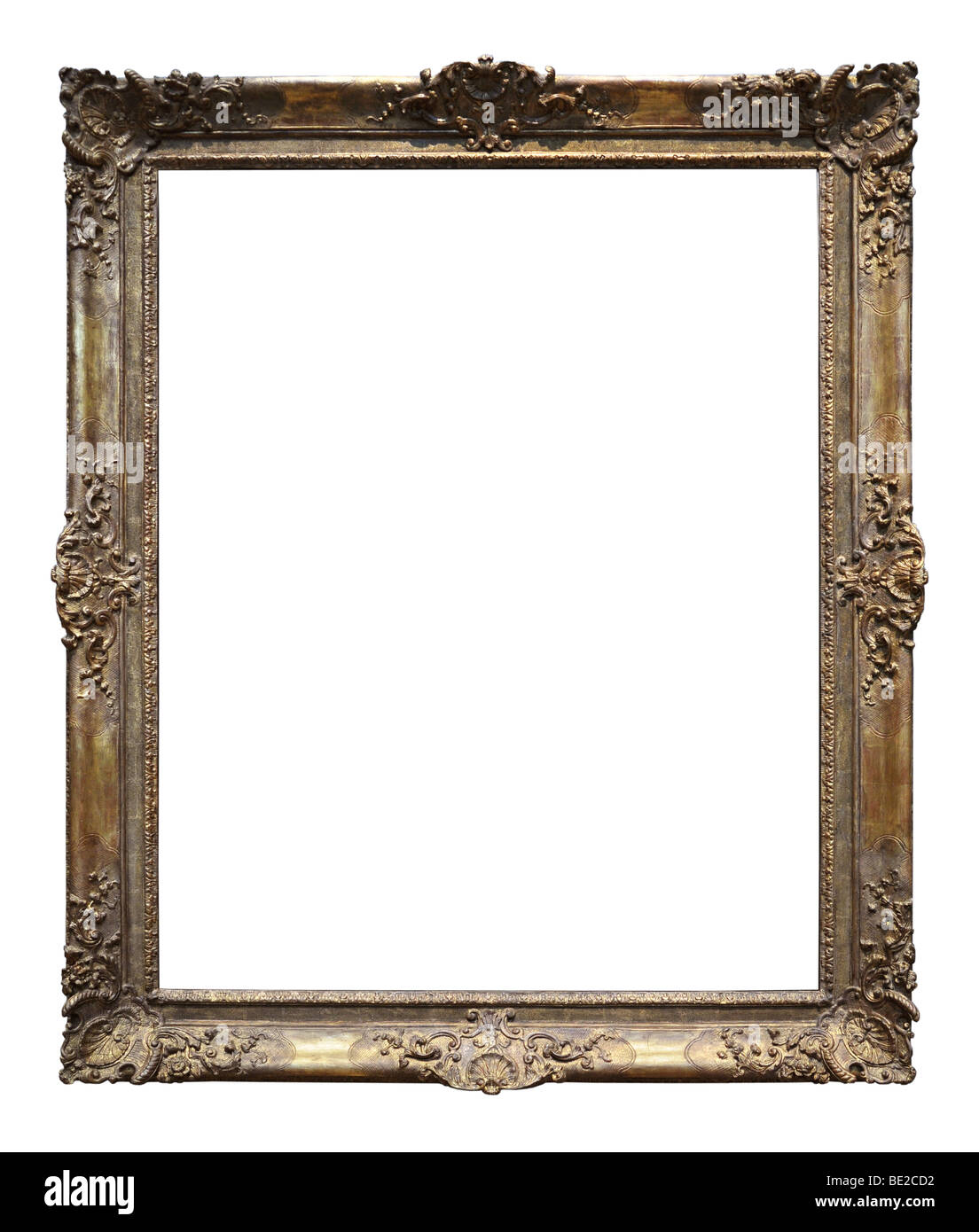 Vintage gold frame isolated over a white background - Stock Image