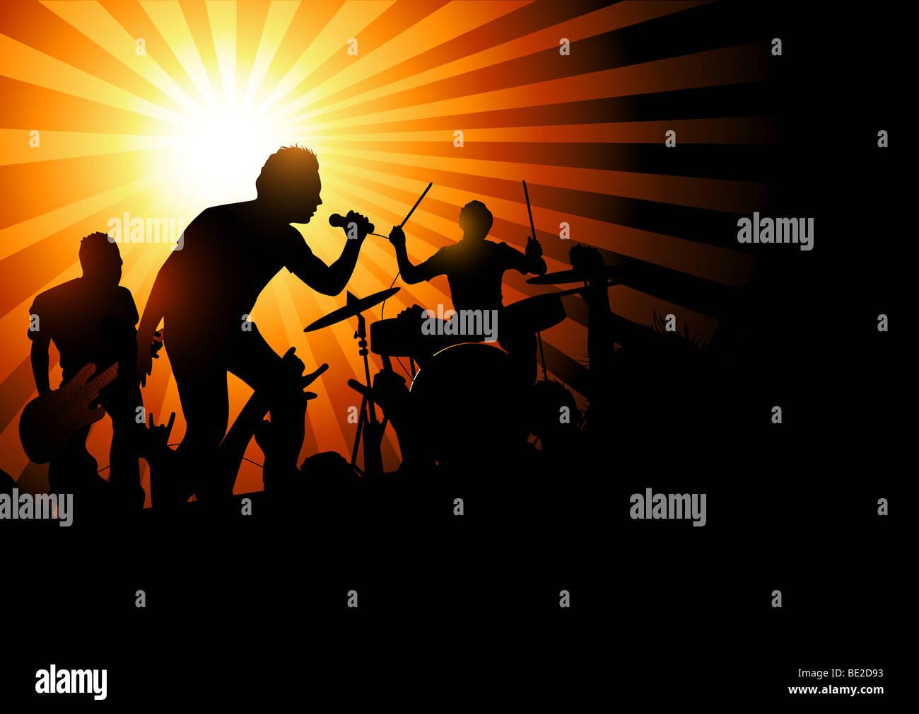 A band playing to a crowd of fans...vector illustration. - Stock Image