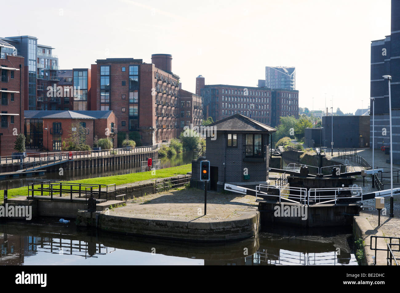 Lock gates on the River Aire outside the The Royal Armouries Museum, Clarence Dock, Leeds, West Yorkshire, England - Stock Image