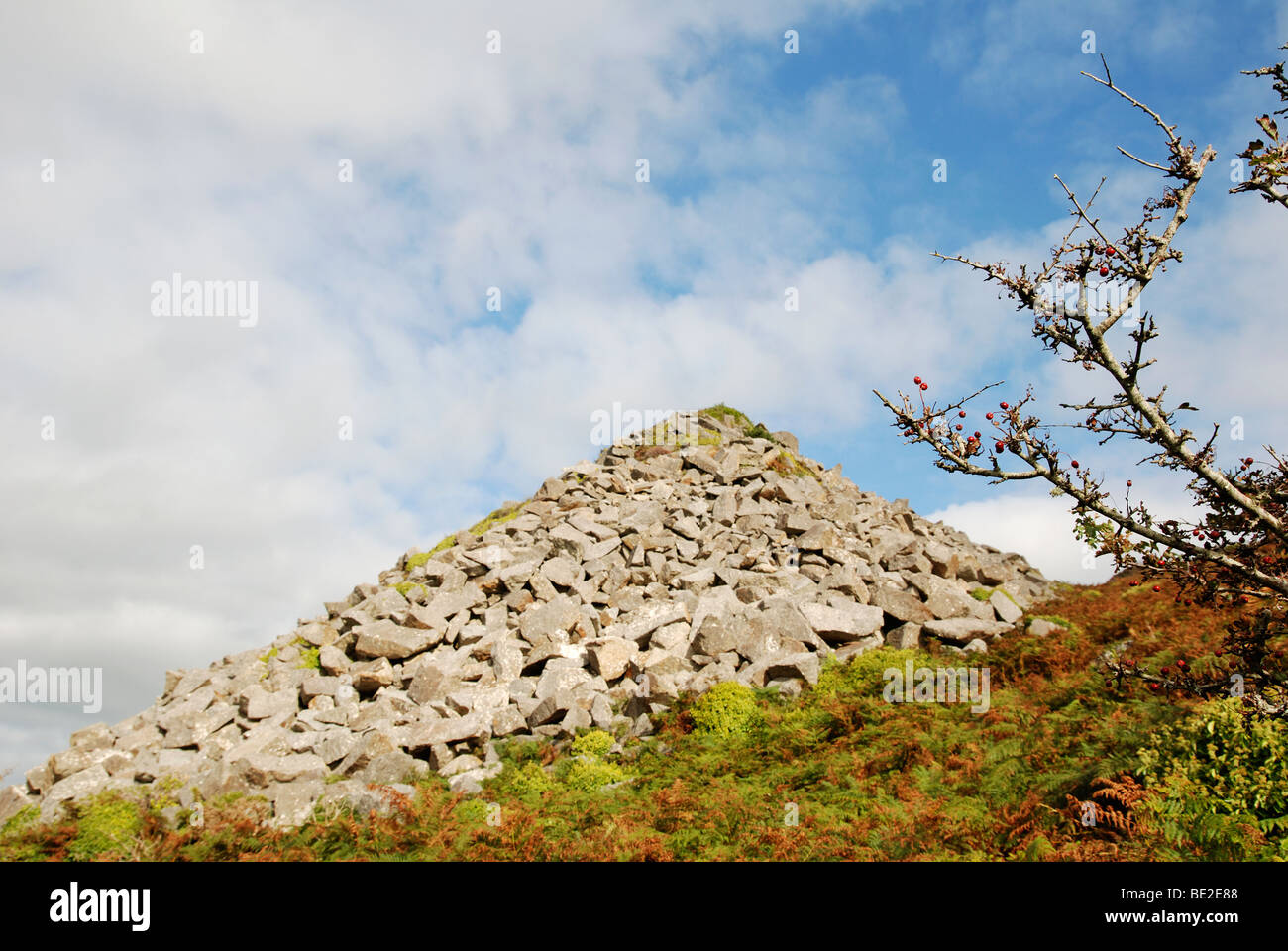 a mound of quarried ' lamorna stone ' on the hillside above lamorna cove in cornwall, uk - Stock Image