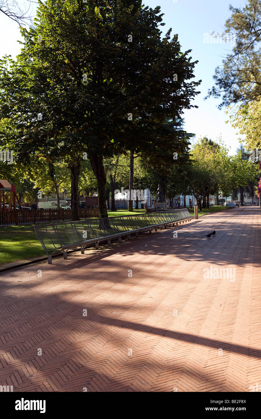 Park in Dona Maria II square in Vila Nova de Famalicão, Braga District, Minho, Portugal. Stock Photo