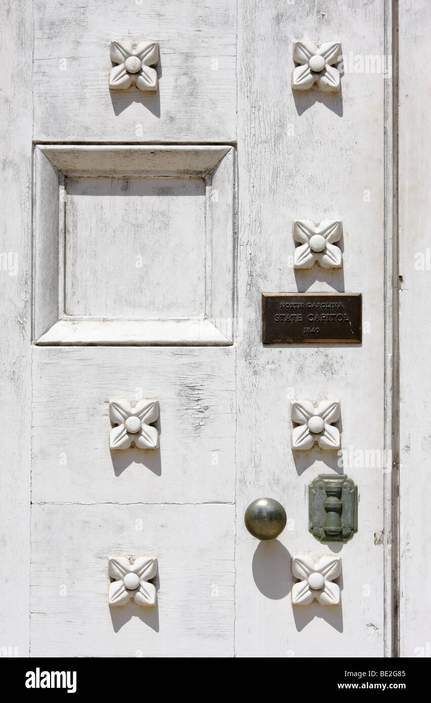 A Wooden Door Adorned With Dogwoods, State Capitol, Raleigh, North  Carolina, USA