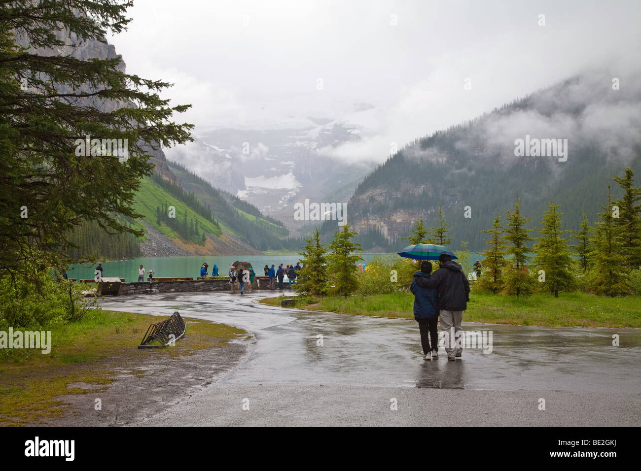 A misty rainy day at Lake Louise in Banff National Park in Alberta,Canada,North America - Stock Image