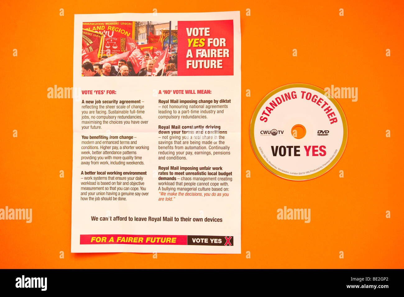 The official cwu leaflet & dvd sent to Royal Mail employees before the September 2009 national ballot asking - Stock Image
