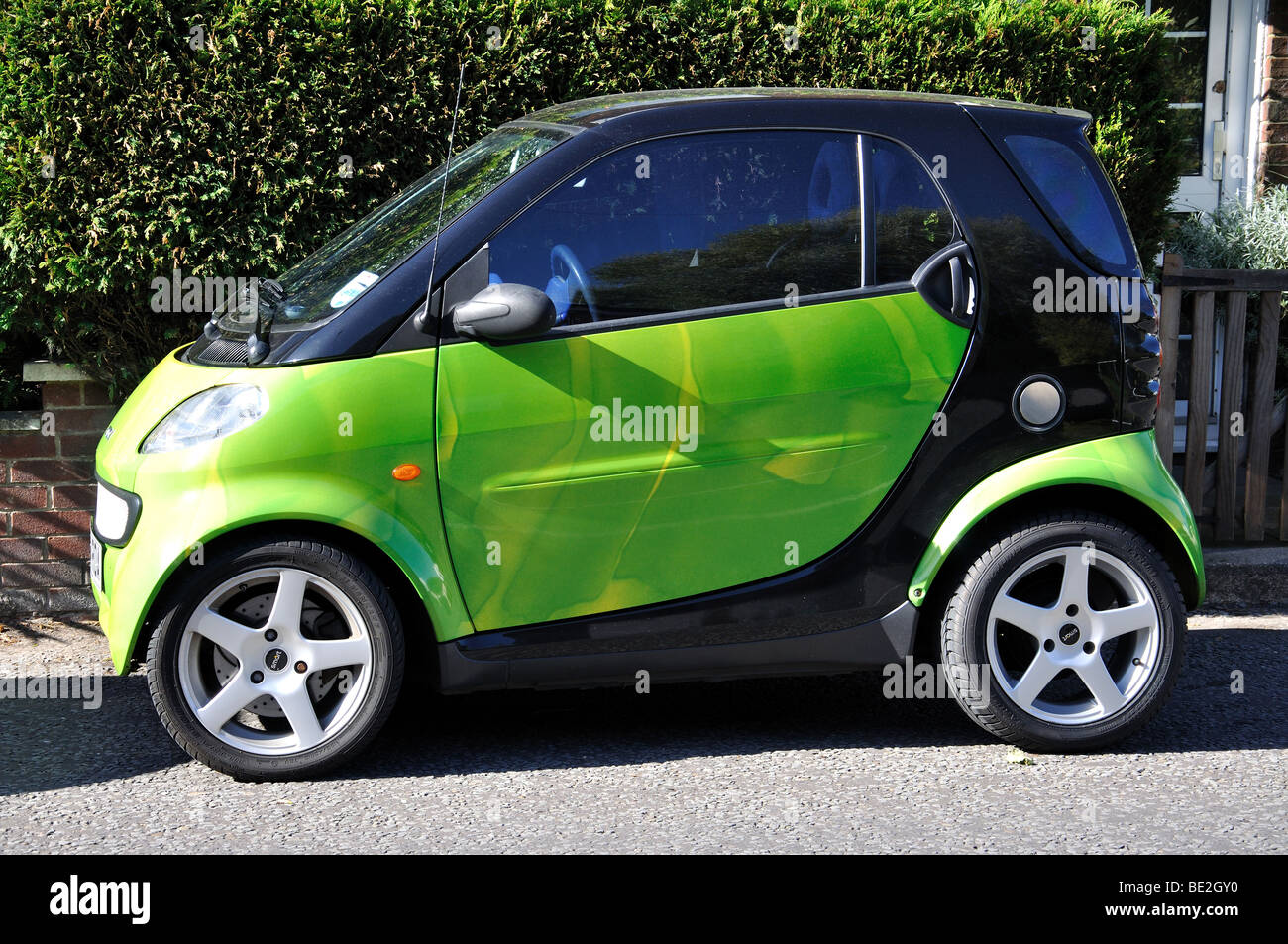 Green Smart Car parked in street, Whitchurch, Hampshire, England, United  Kingdom -