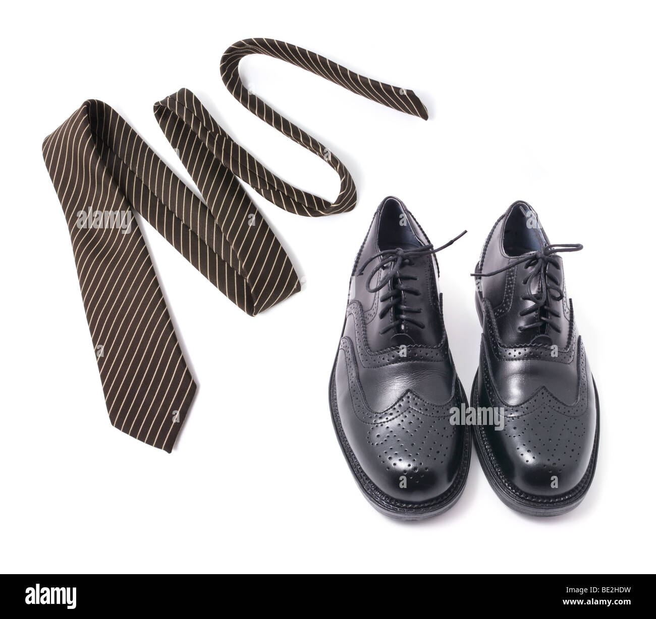Necktie and Men Shoes - Stock Image
