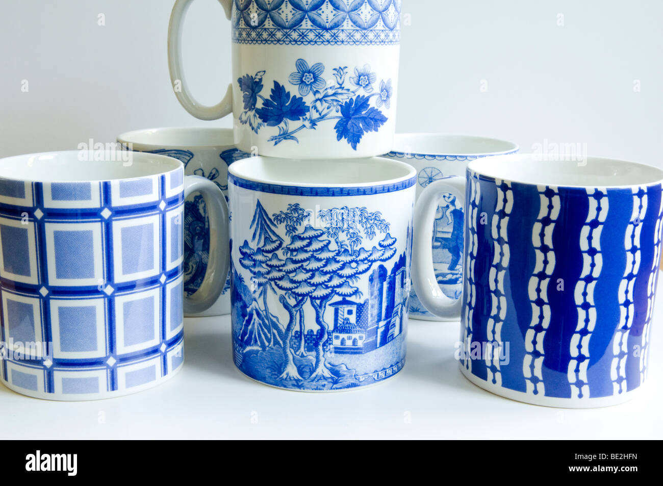 Spode Mugs from the Blue Room collection. - Stock Image