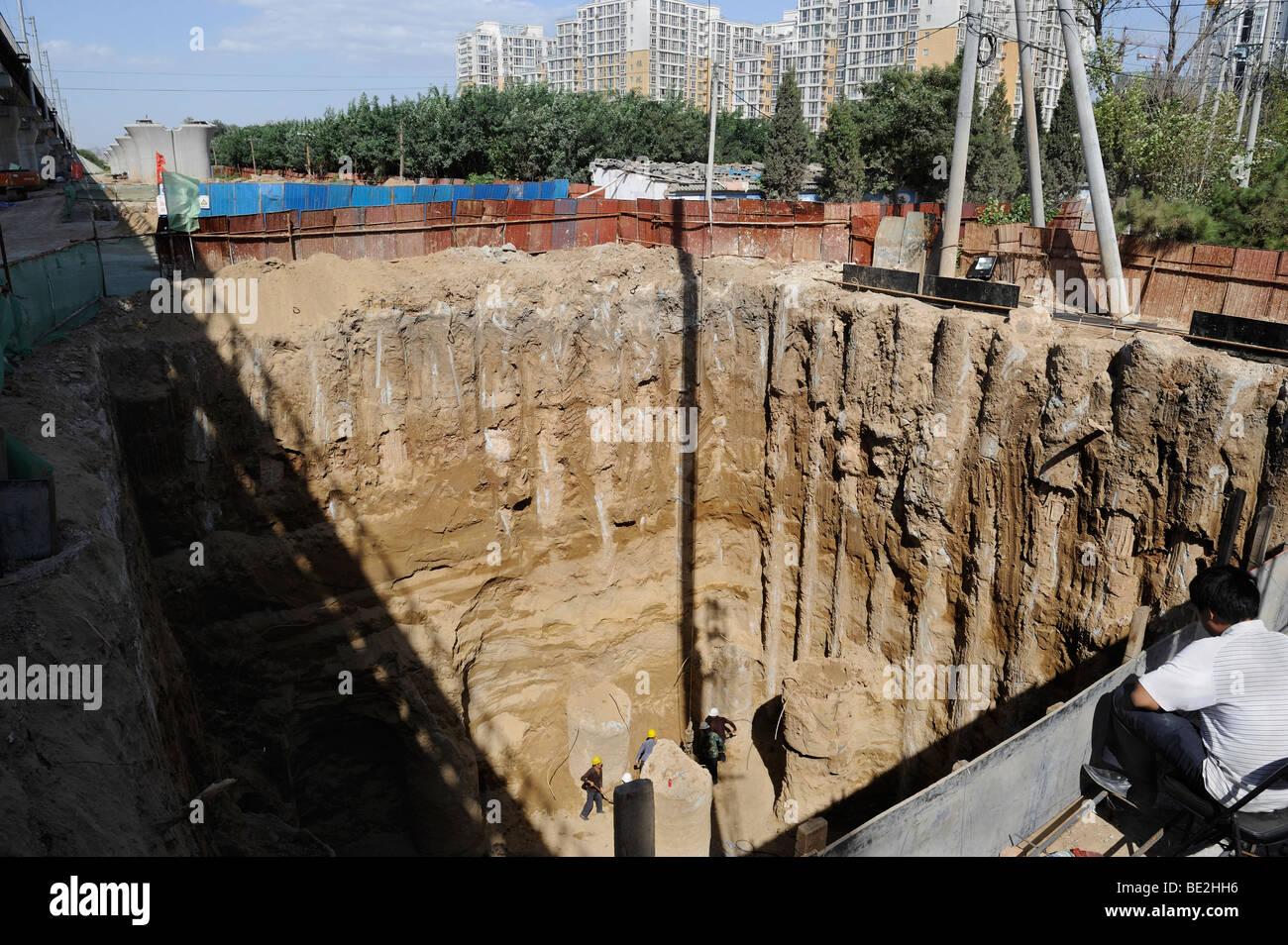 construction site of Beijing-Shanghai high-speed railway in Beijing, China. 11-Sep-2009 - Stock Image