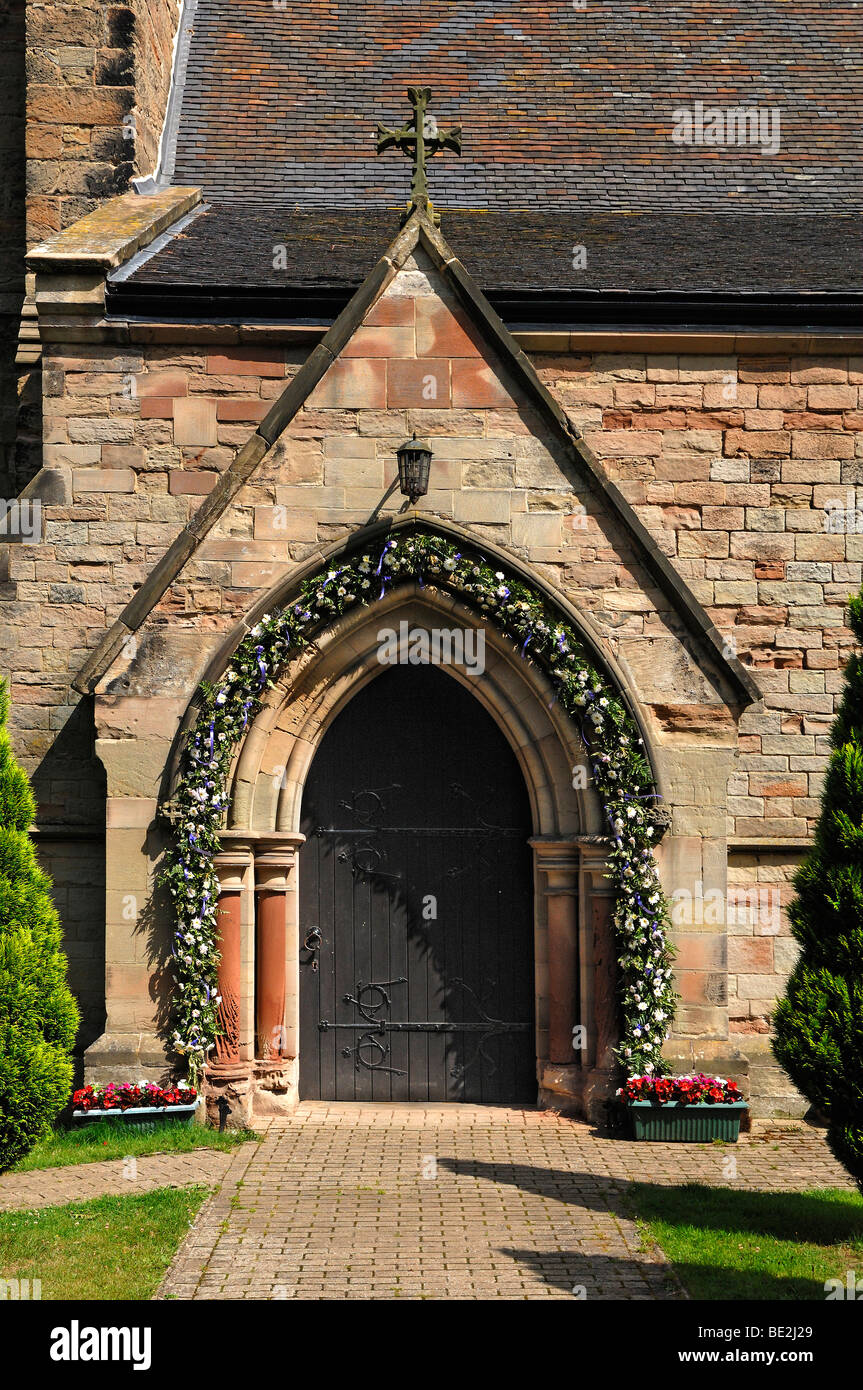 Wedding decoration at the entrance of the church of all saints dag wedding decoration at the entrance of the church of all saints dag lane lullington south derbyshire england united kingdom junglespirit Image collections