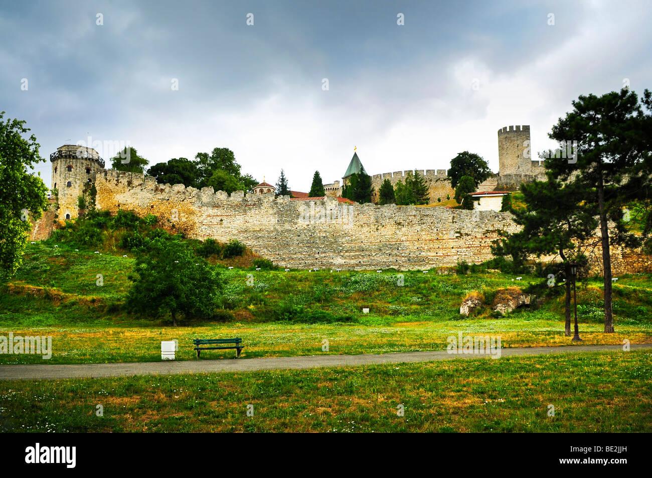 Kalemegdan fortress in Belgrade with walking path - Stock Image