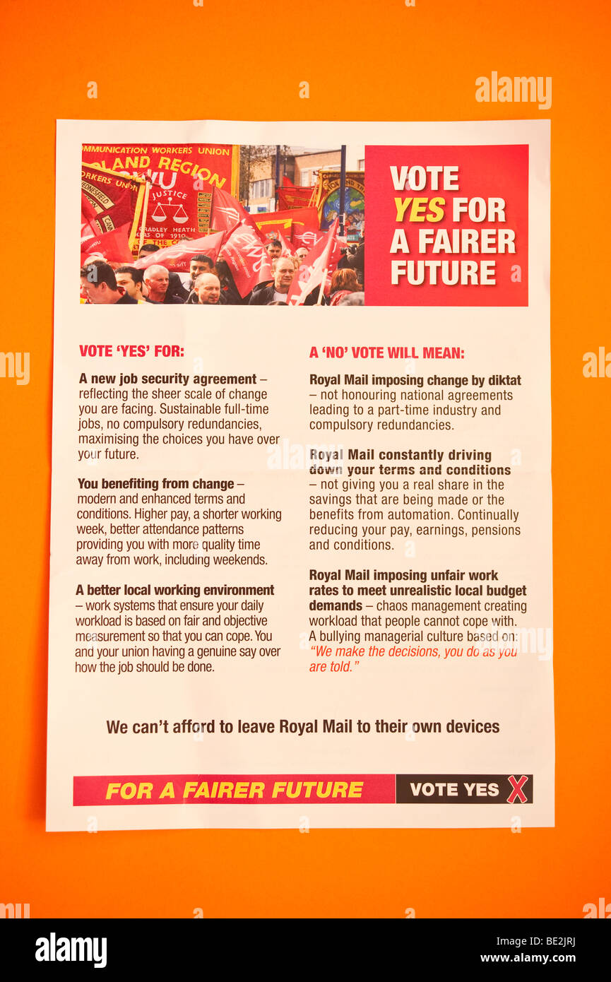 The official cwu leaflet sent to Royal Mail employees before the September 2009 national ballot asking for a yes - Stock Image