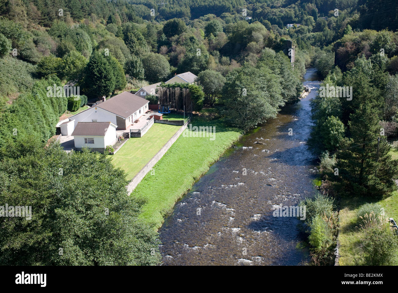 Afan forest park at Pontrhydyfen with Afan river and riverside house Stock Photo