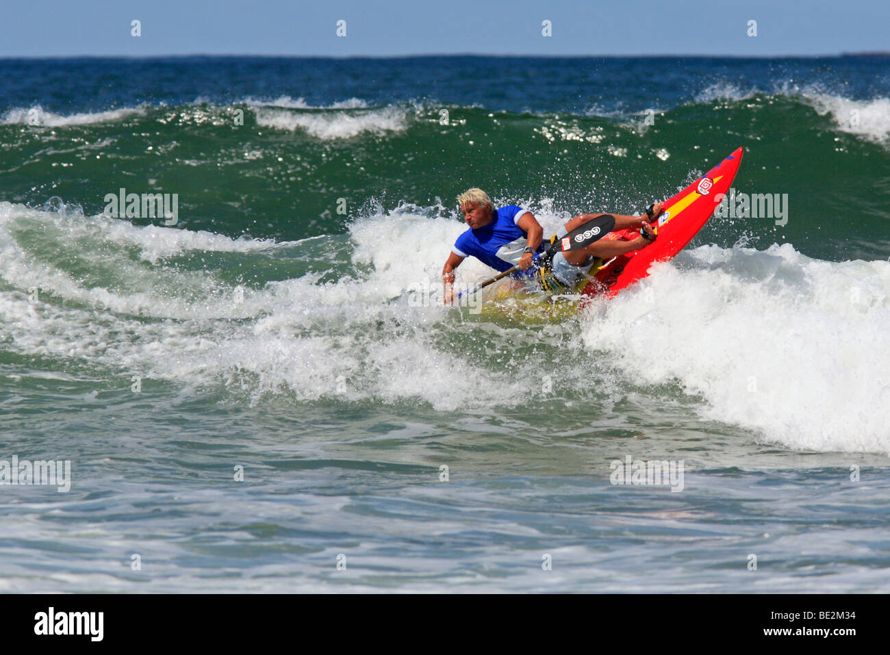 Lisa Ryan, of Australia, competing in the semi finals of the Women's section of the Waveski Surfing World Titles Stock Photo