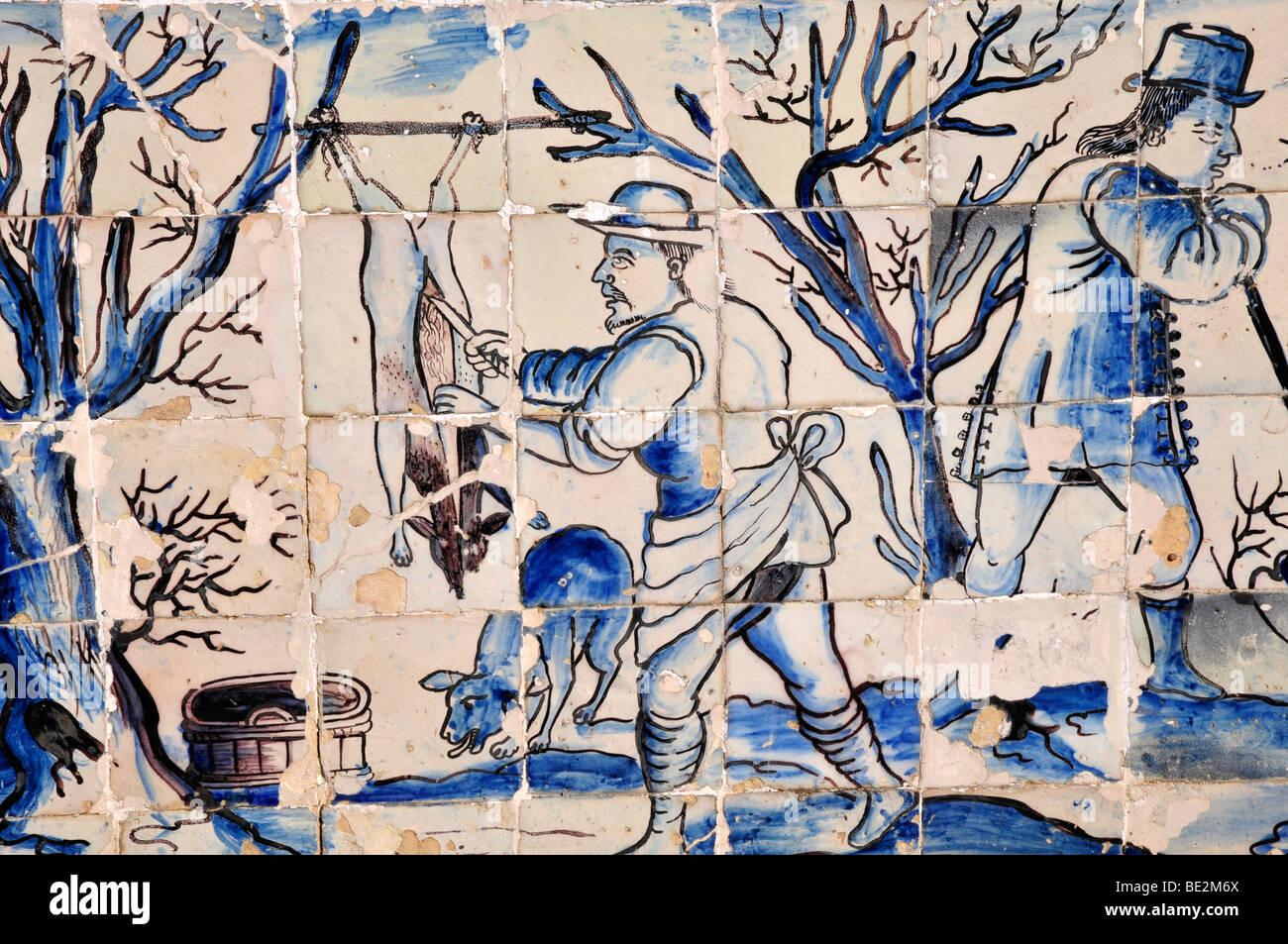 Azulejos, Palácio dos Marqueses de Fronteira, Lisbon, Portugal - Stock Image