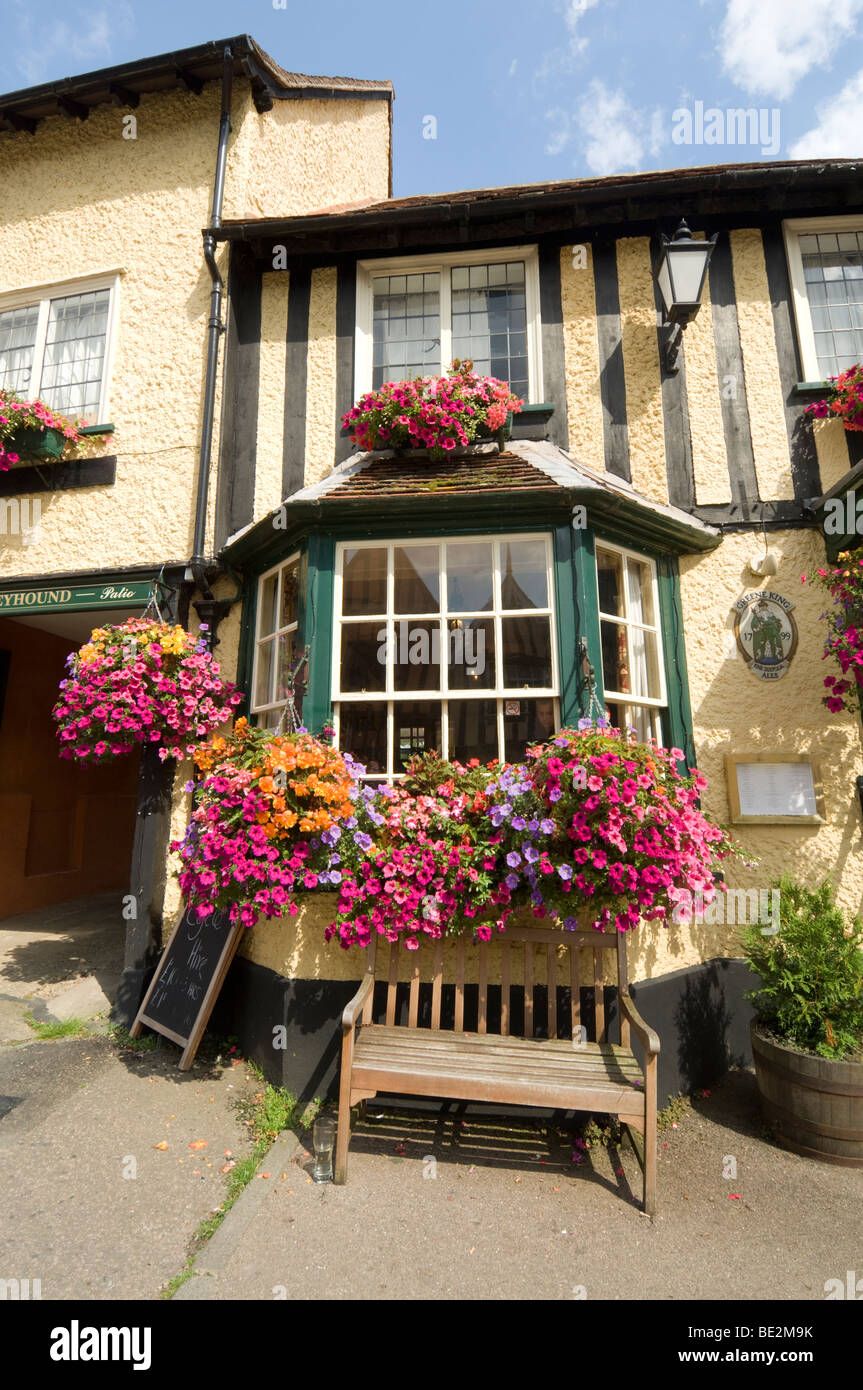 The Greyhound Pub in the pretty village of Lavenham Suffolk UK - Stock Image