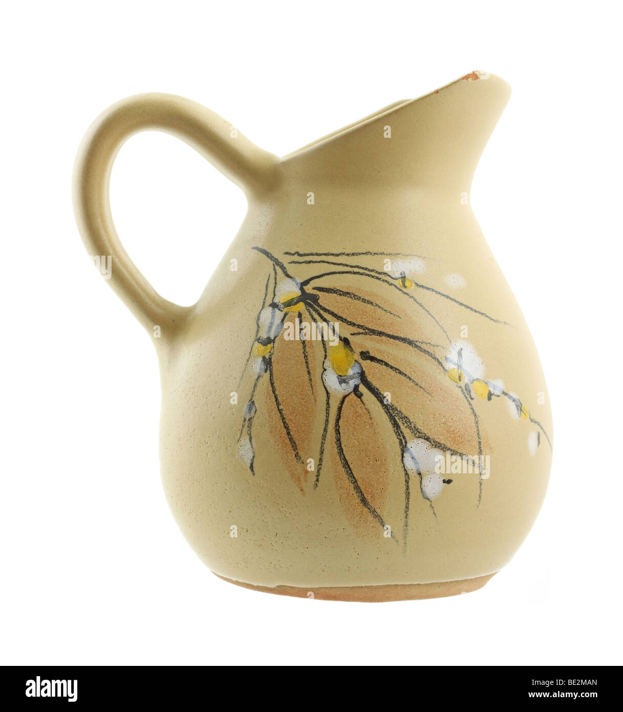 Chipped ewer with floral and leaf design Stock Photo