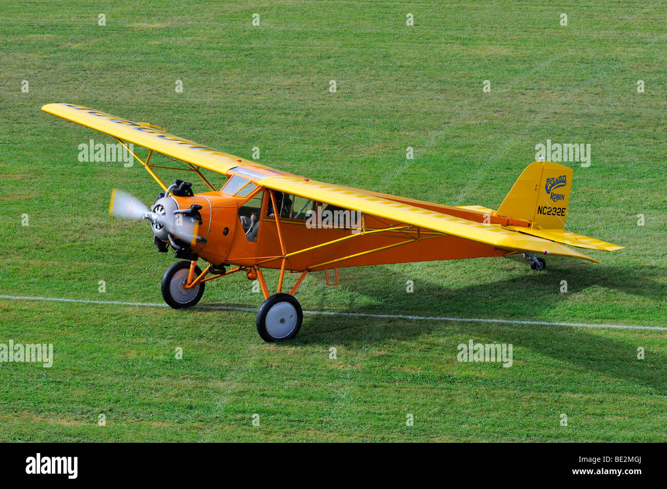 Curtiss-Wright C10 high-wing, Europe's largest meeting of vintage planes at Hahnweide, Kirchheim-Teck, Baden - Stock Image