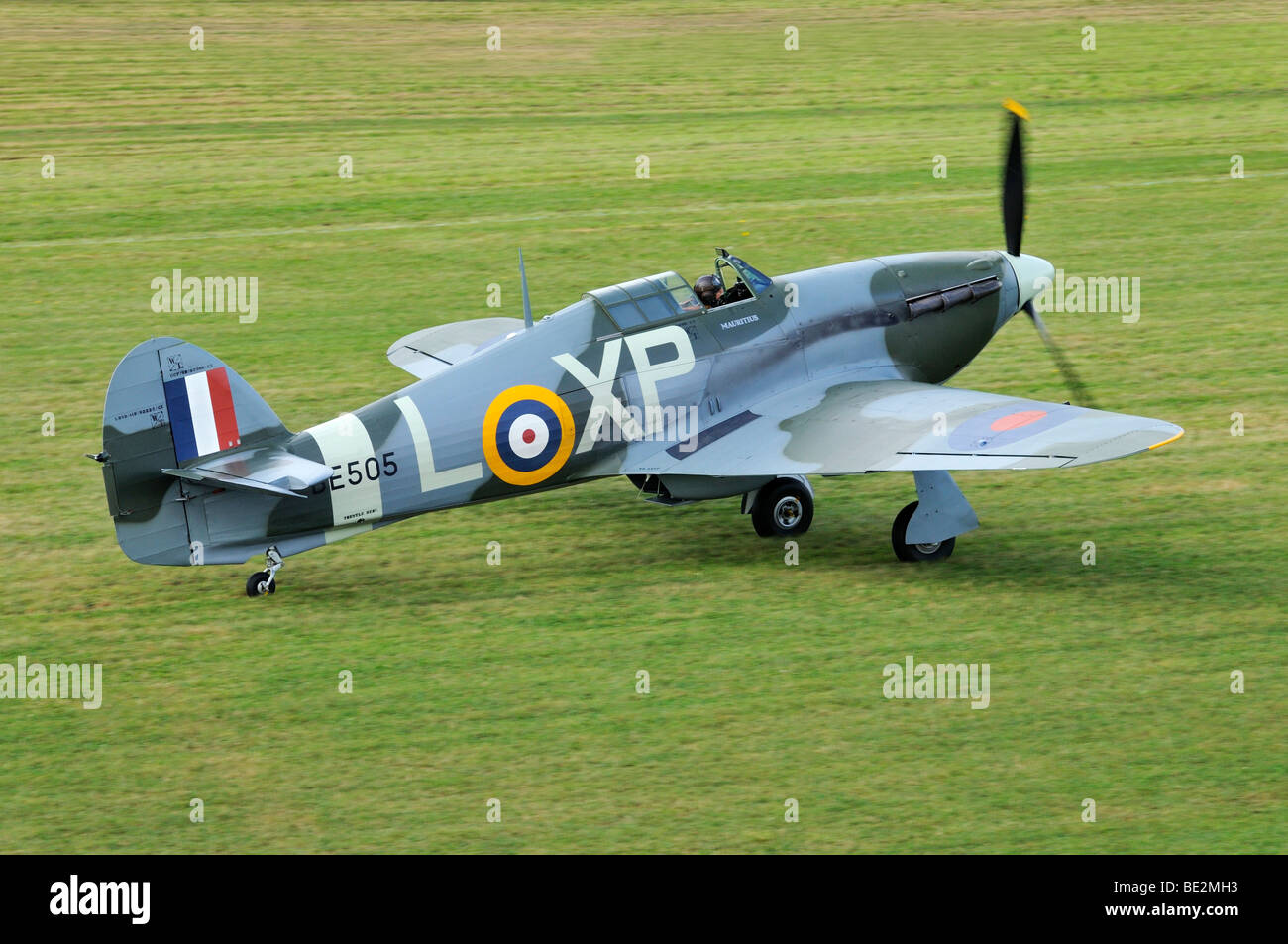 British Hawker Hurricane fighter aircraft, Europe's largest meeting of vintage planes at Hahnweide, Kirchheim - Stock Image