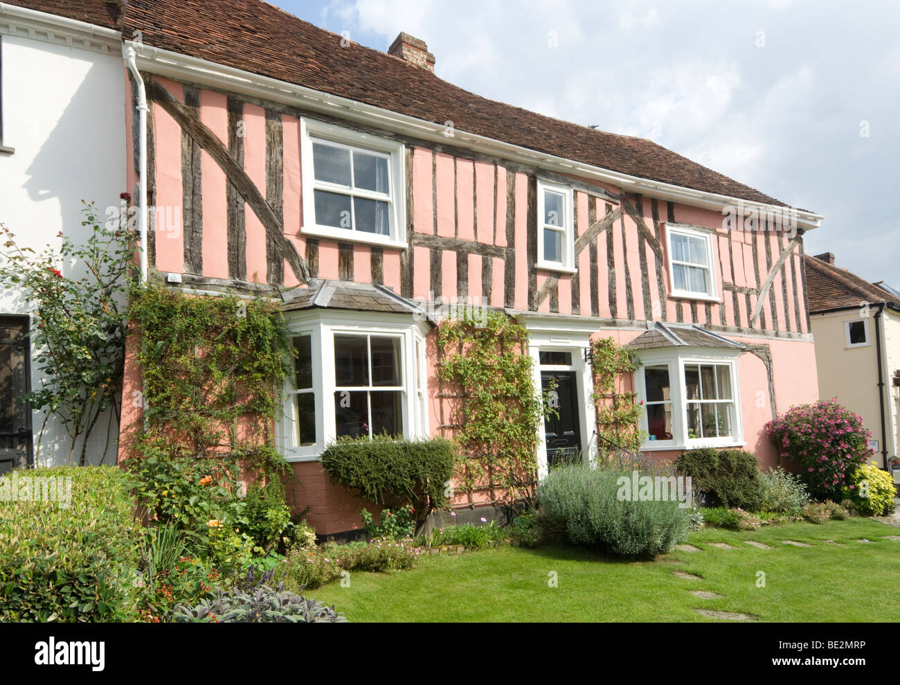 Pink Cottage Lavenham Suffolk UK - Stock Image