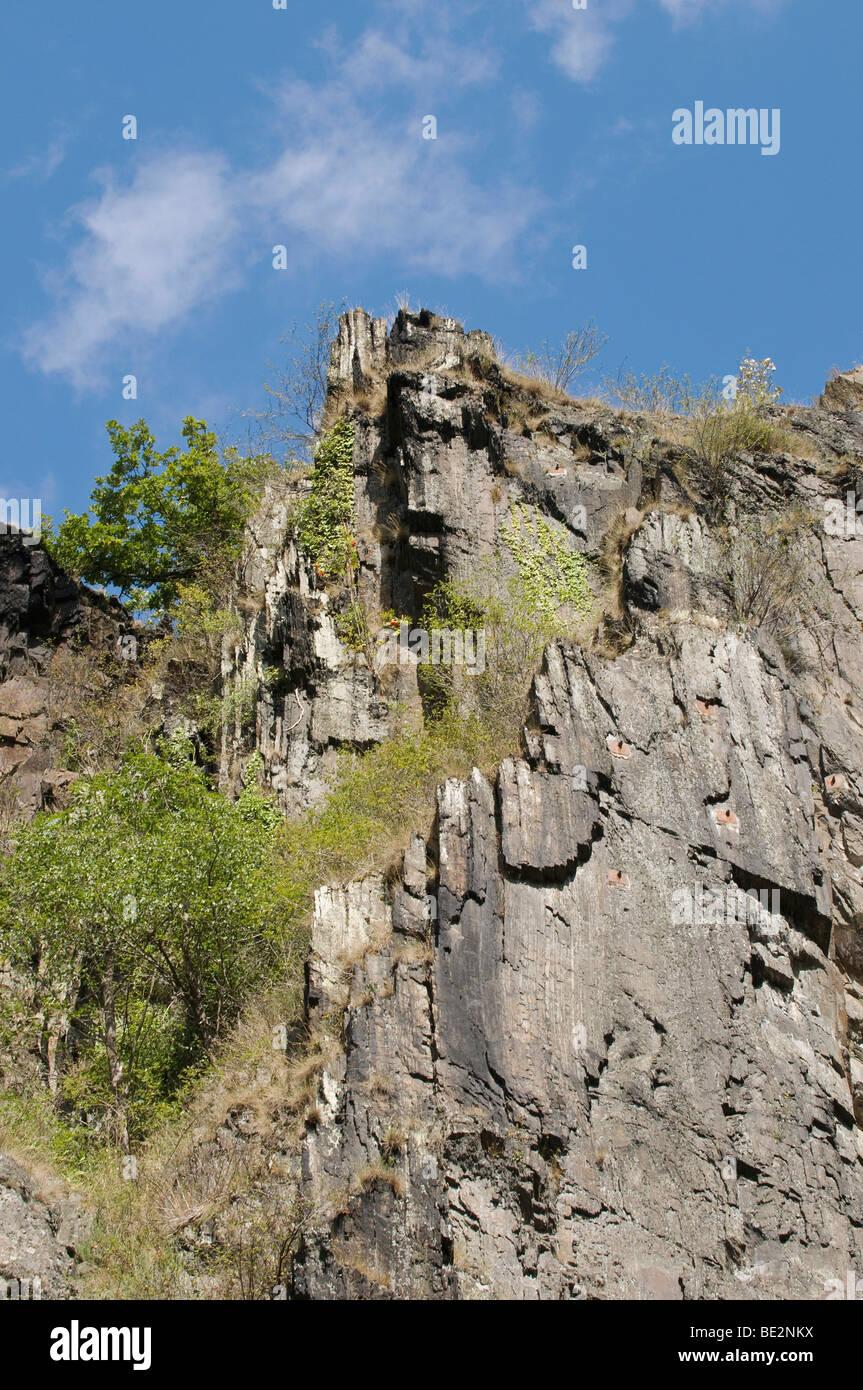 Barren steep rock face in the sunshine, Ahrtal valley, near Kreuzberg, Rhineland-Palatinate, Germany, Europe - Stock Image