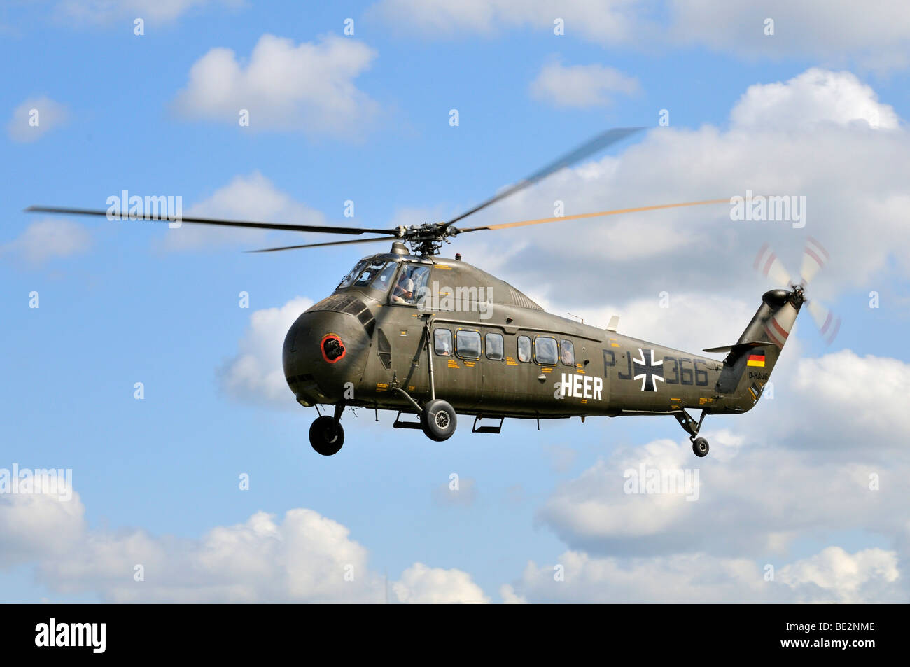 American transport helicopter Sikorsky S-58C during a flight demonstration, Europe's largest meeting of vintage Stock Photo