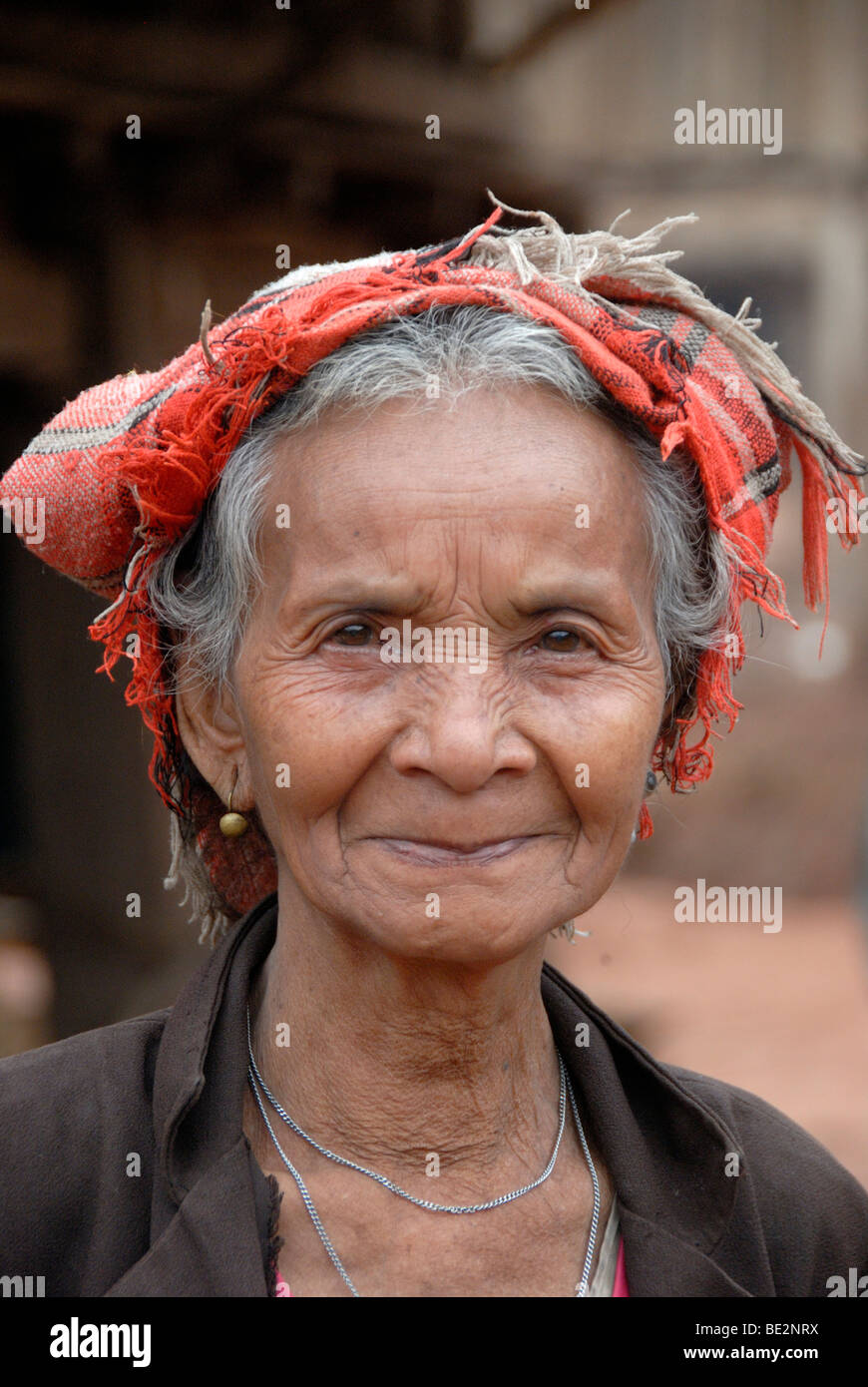 Portrait, ethnology, old woman of the Lao Bit ethnic group, Laobit, village Ban Thaodouang, near the Nam Lan Conservation - Stock Image