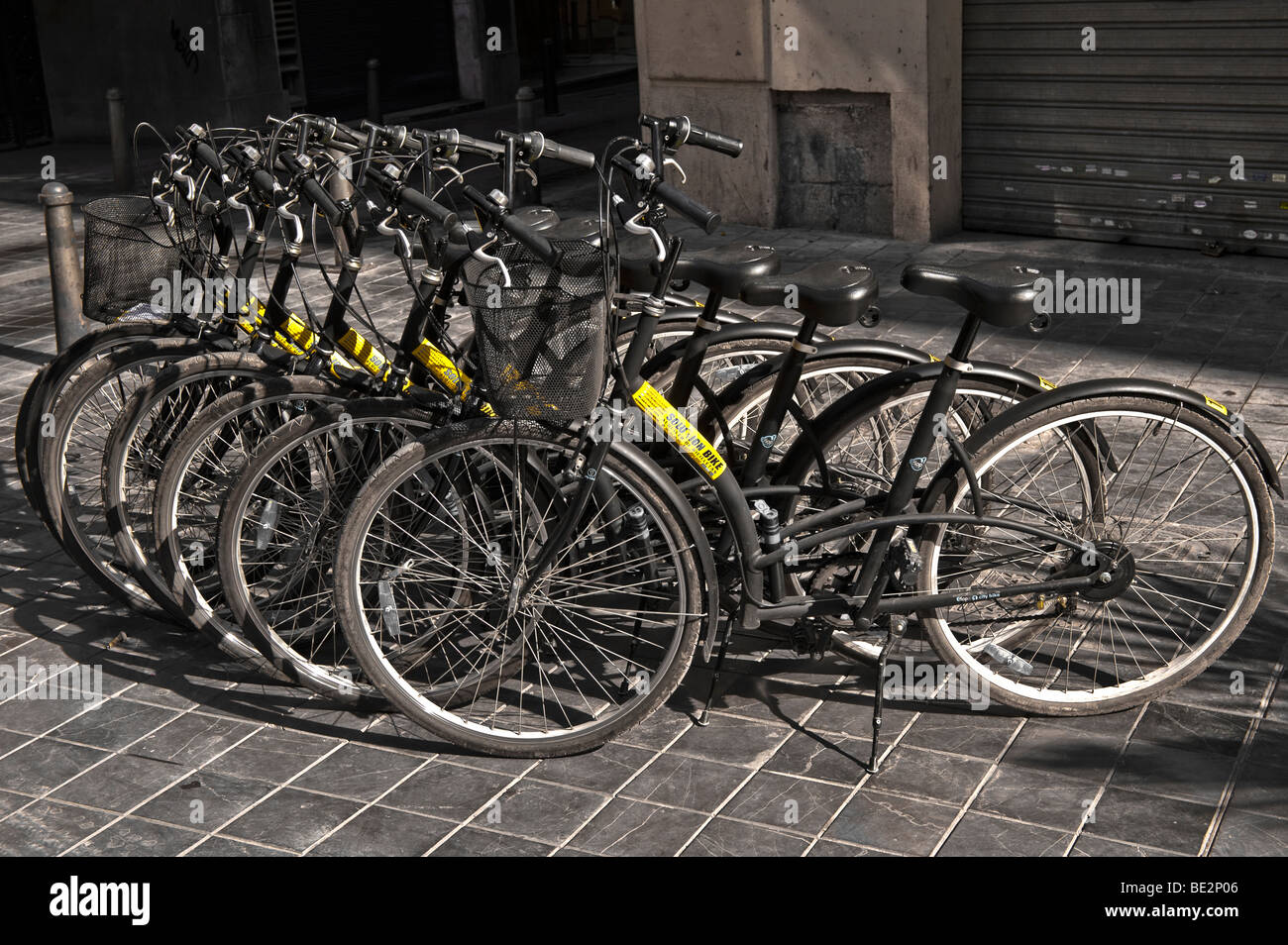 Bikes for hire in Valencia, Spain - Stock Image