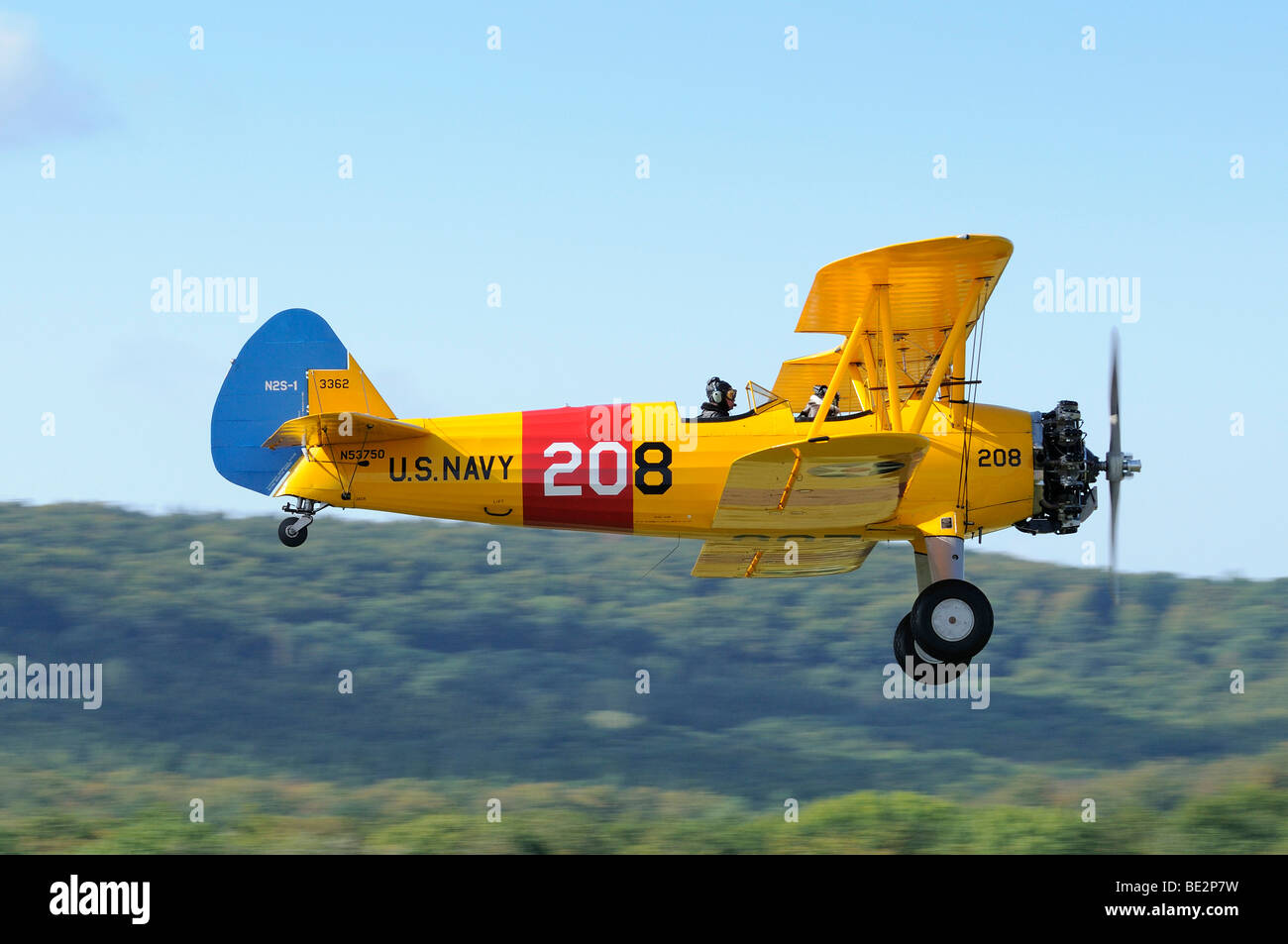Bi-Plane Boeing Stearman PT-17, Europe's largest meeting of vintage planes at Hahnweide, Kirchheim-Teck, Baden - Stock Image