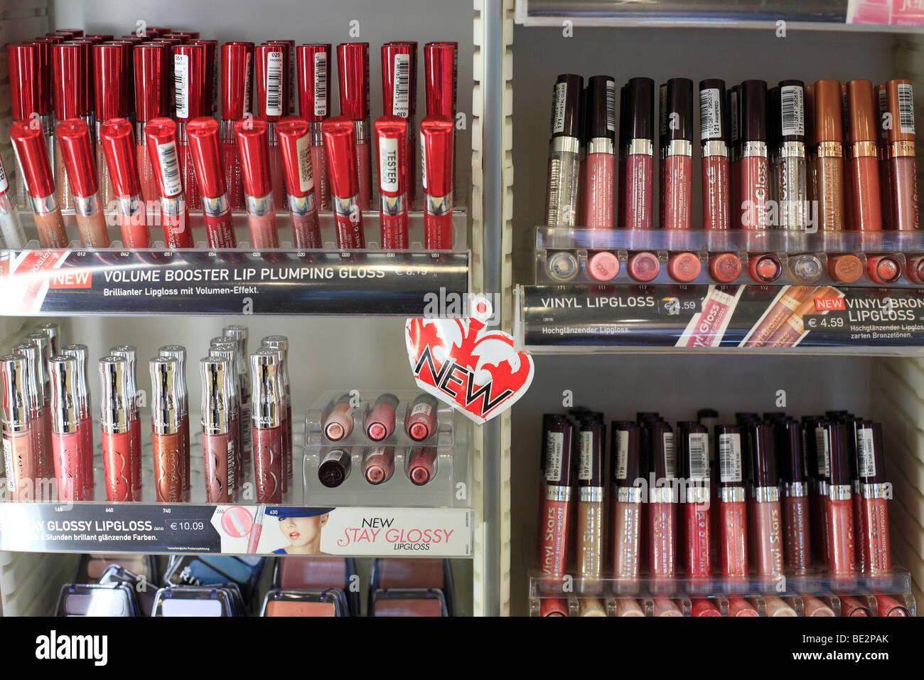lipsticks shelf - Stock Image