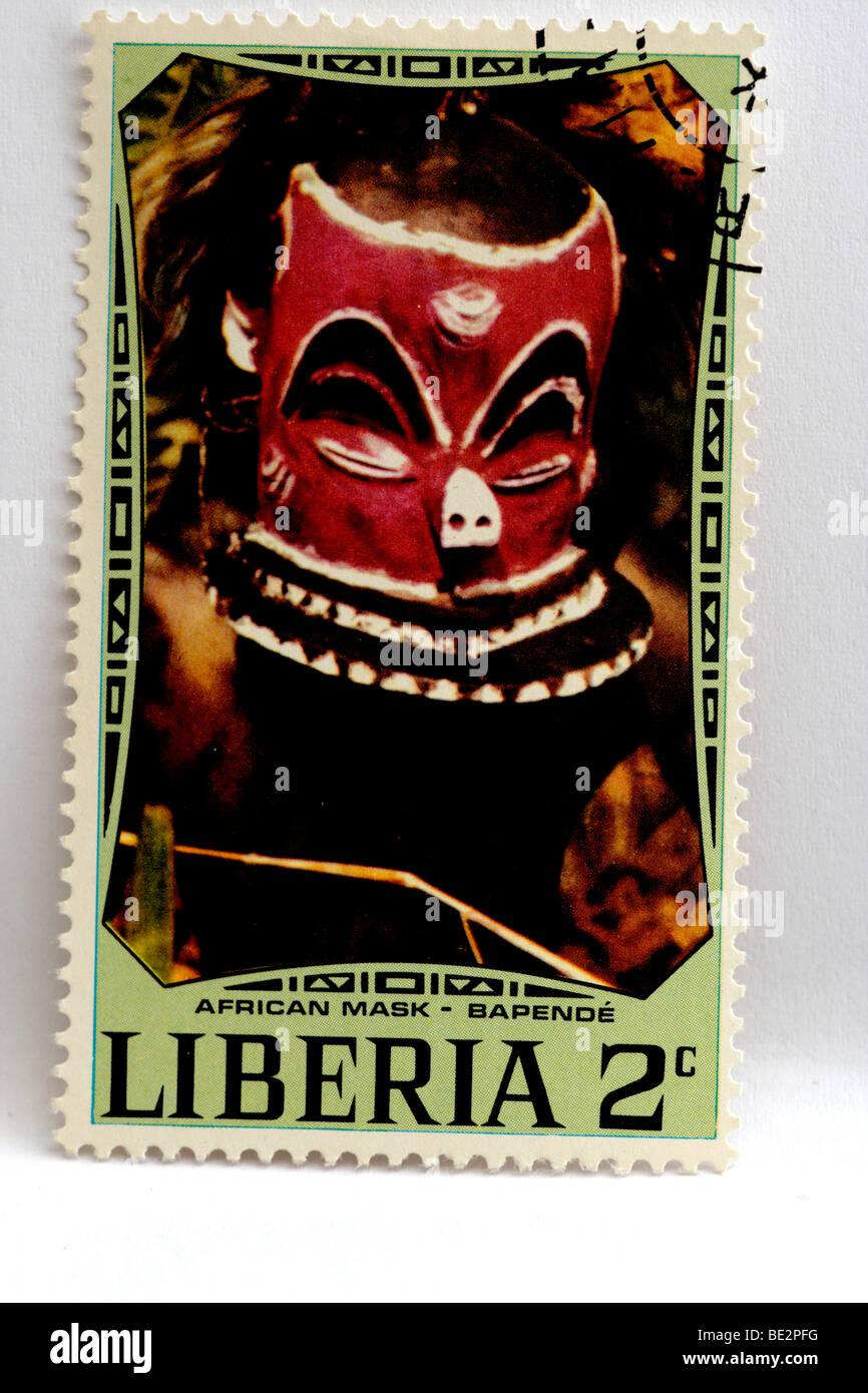 Stamp Liberia - Stock Image