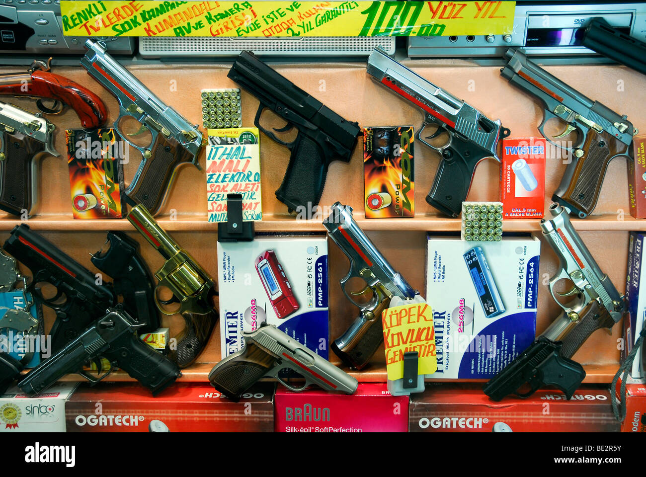 Showcase of firearms, Beyoglu district, Istanbul, Turkey - Stock Image