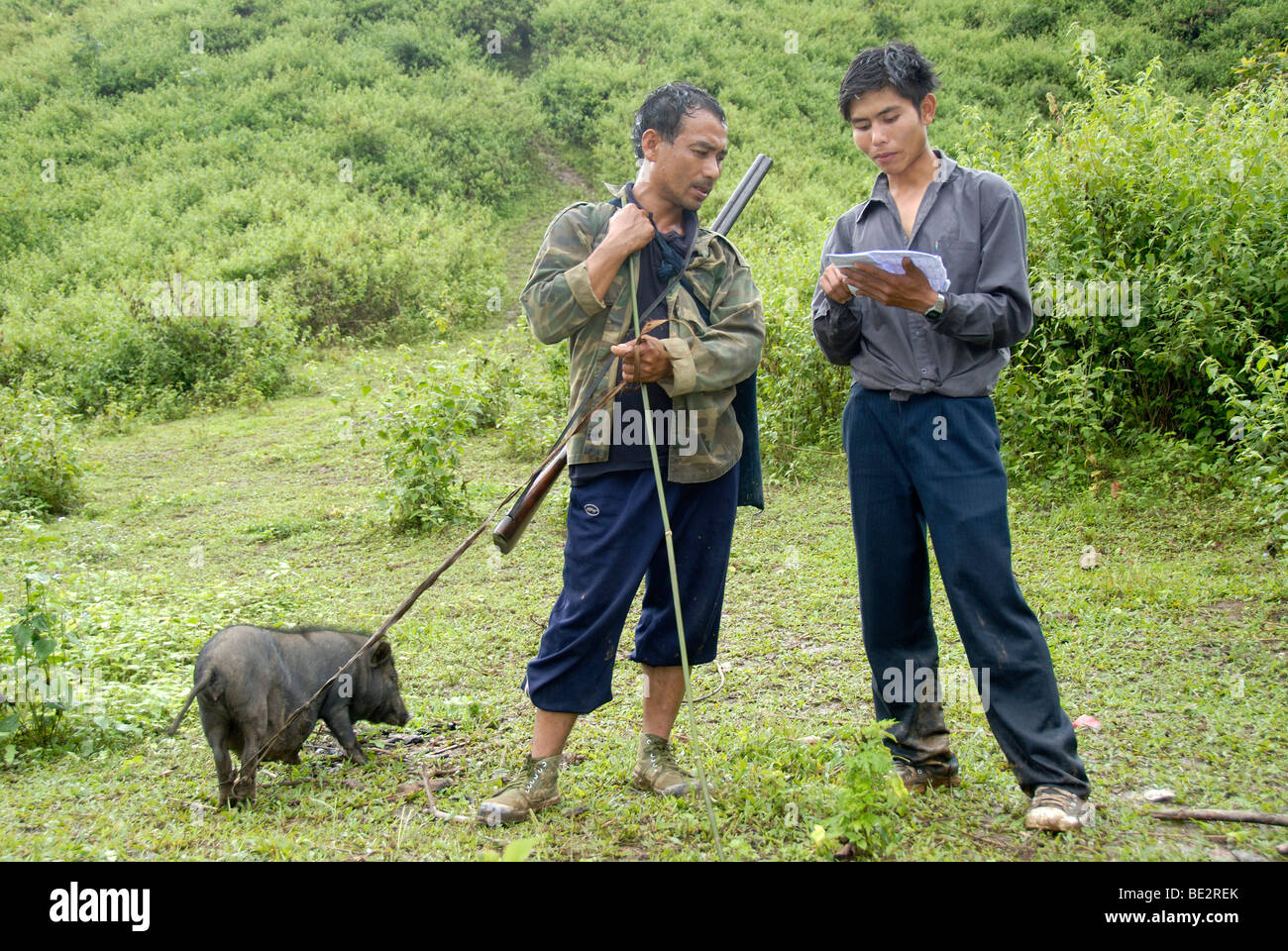 Laotians in conversation, the man Pixor Akha ethnic group with pork and a rifle in the wilderness, rifle, hunting, - Stock Image