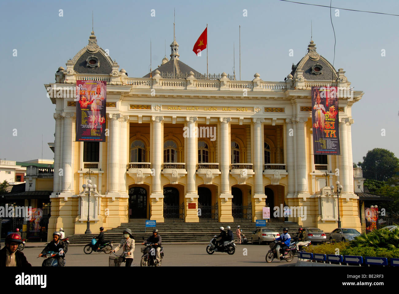 Opera House, Neoclassicism, transport, mopeds, Hanoi, Vietnam, Southeast Asia, Asia - Stock Image