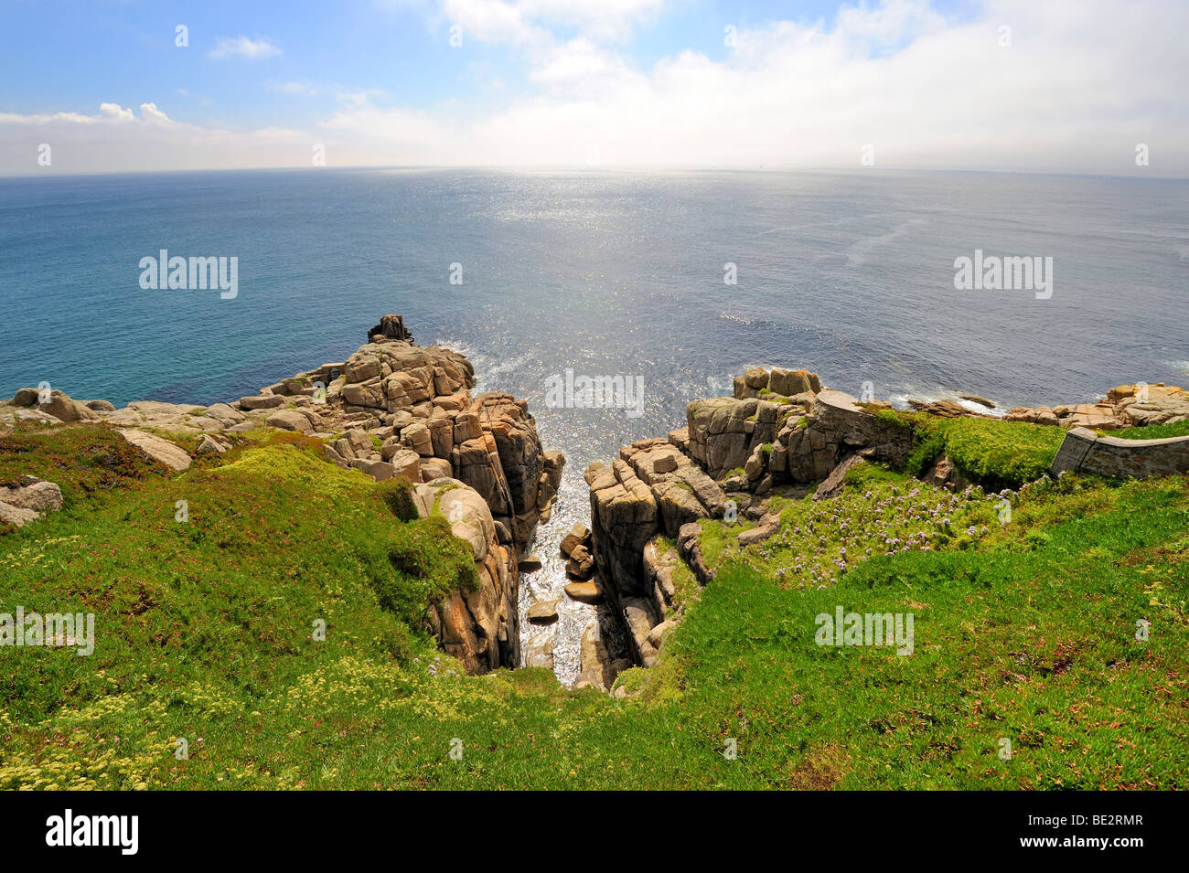 Cliffs at Porthcurno, south coast of Cornwall, England, UK, Europe - Stock Image