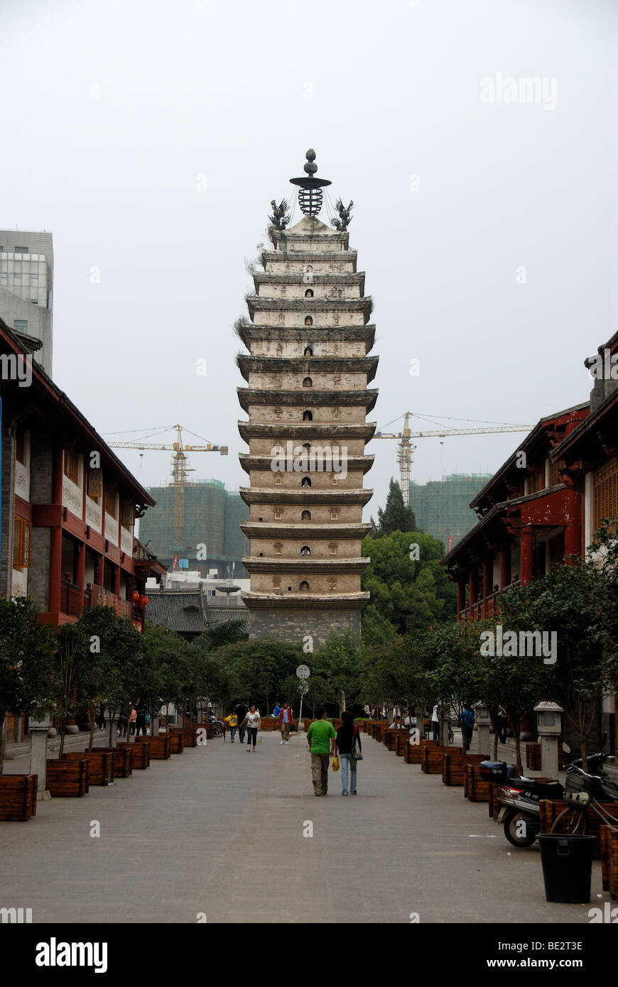 Old Buddhist tower, East Pagoda in the old city, Kunming, Yunnan Province, People's Republic of China, Asia - Stock Image
