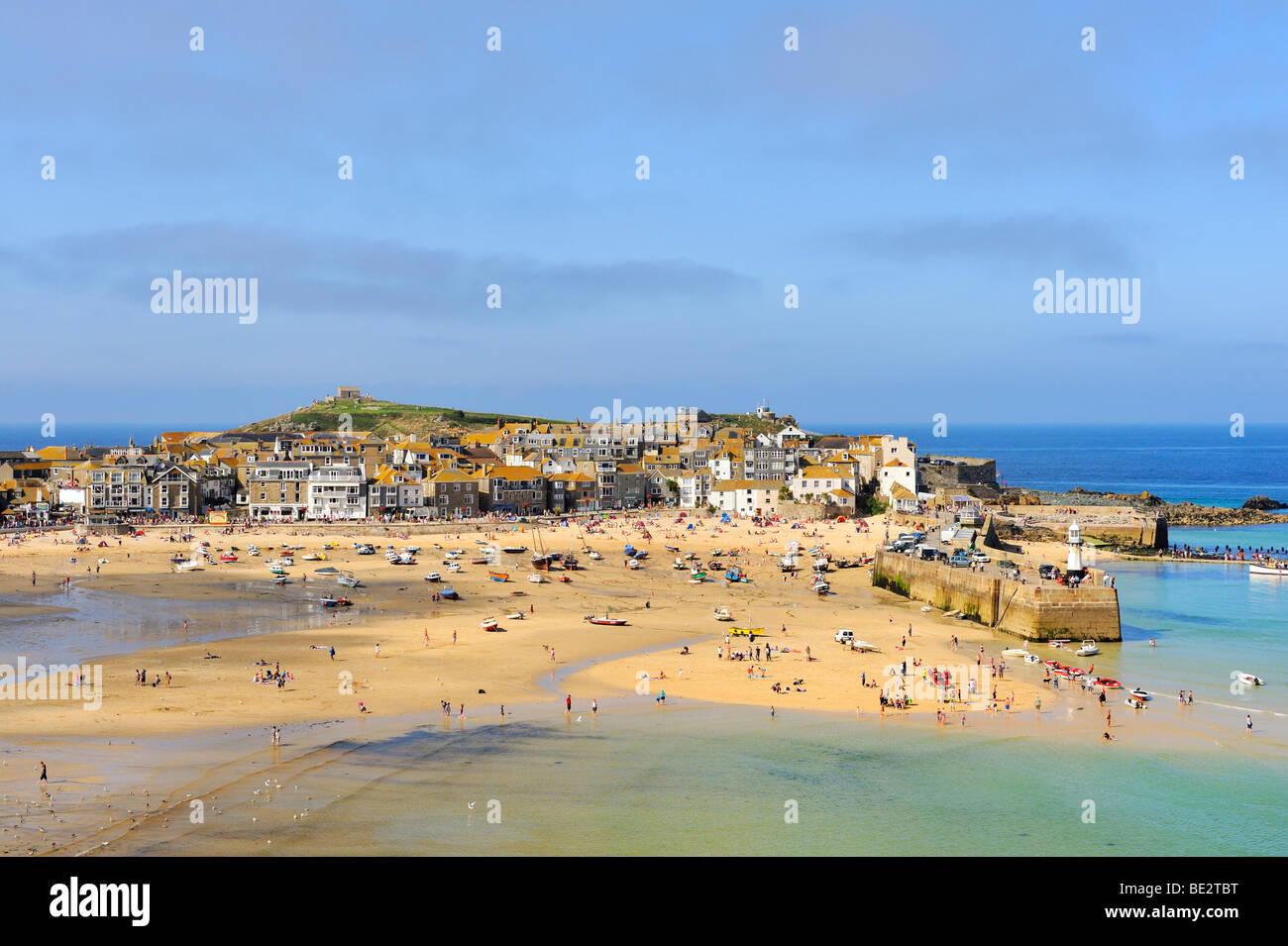 Overlooking the harbour of St. Ives at low tide, Cornwall, England, UK, Europe Stock Photo