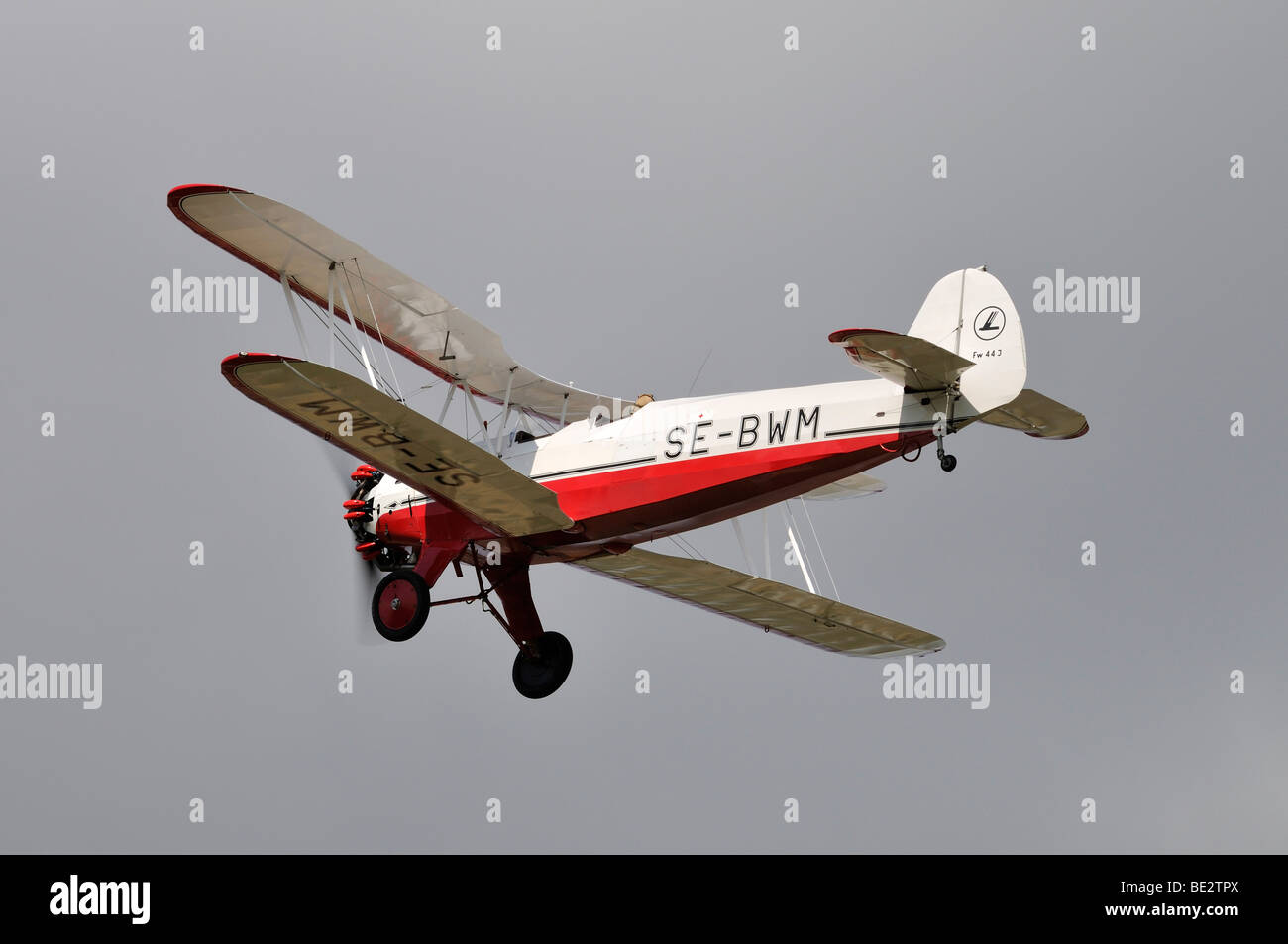 Biplane German Focke-Wulf Stieglitz, Europe's largest meeting of vintage planes at Hahnweide, Kirchheim-Teck, - Stock Image