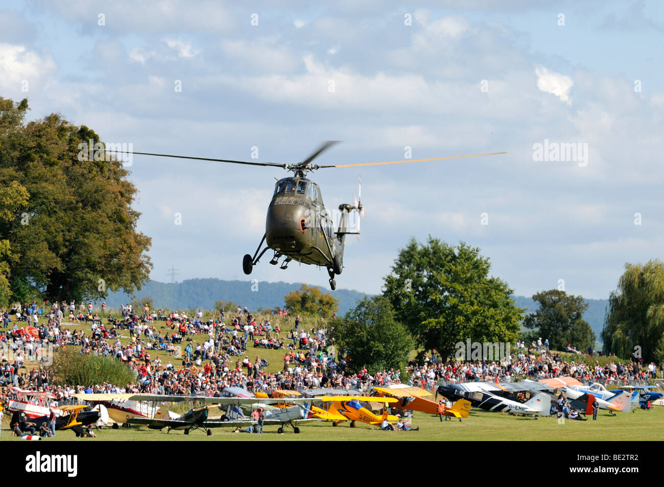 American transport helicopter Sikorsky S-58C during a flight demonstration, Europe's largest meeting of vintage planes at Hahnw Stock Photo
