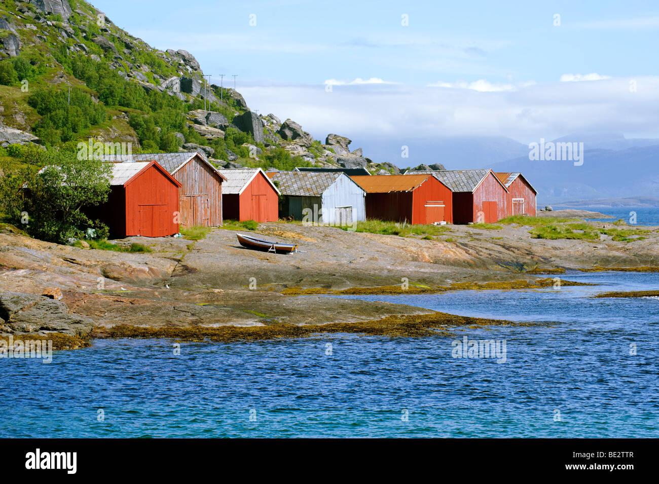 Houses at the Holandfjord, Norway, Scandinavia, Europe - Stock Image