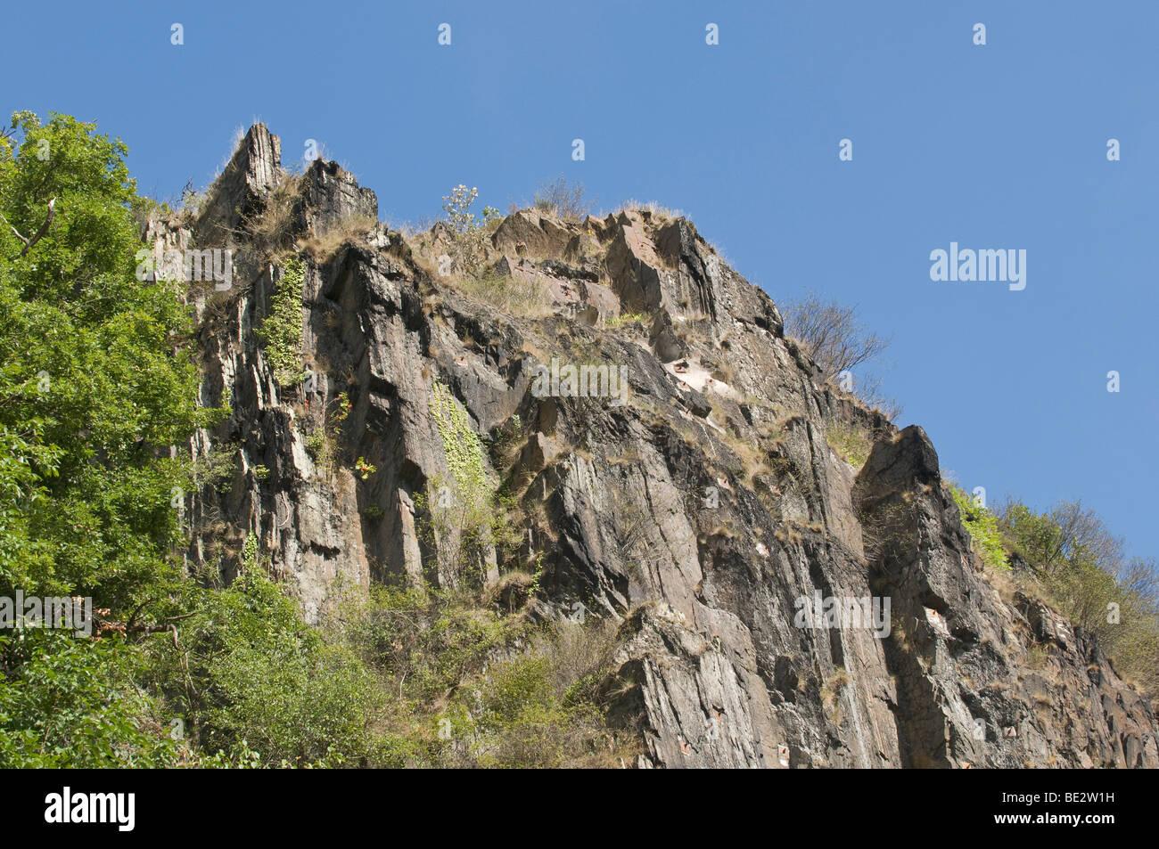 Jagged rocks, Altenahr, Ahrtal valley, Rhineland-Palatinate, Germany, Europe - Stock Image