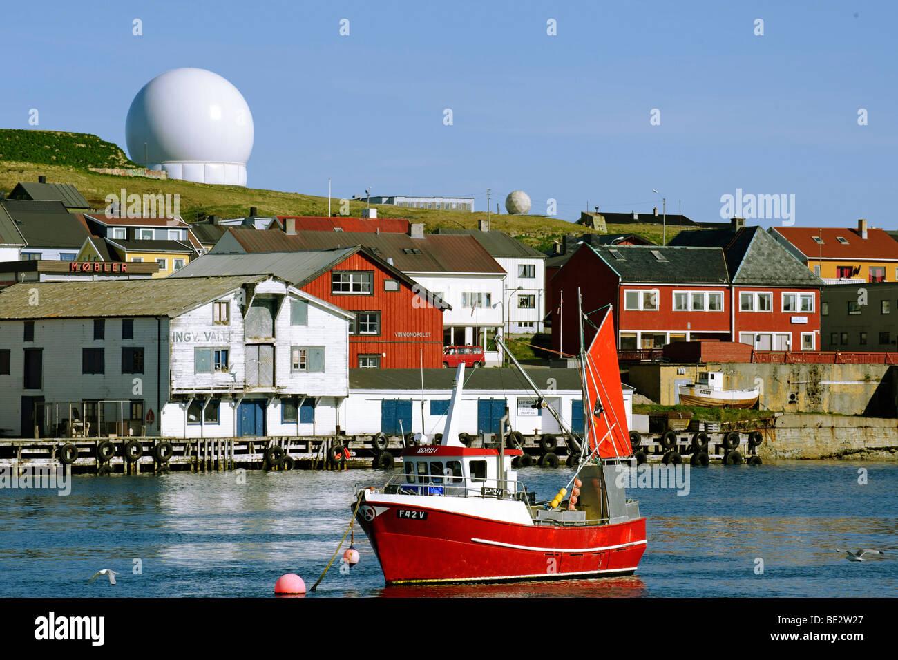 Radar station Globus II for tracking space debris, Vardo, Vardoe, Norway, Scandinavia, Europe - Stock Image