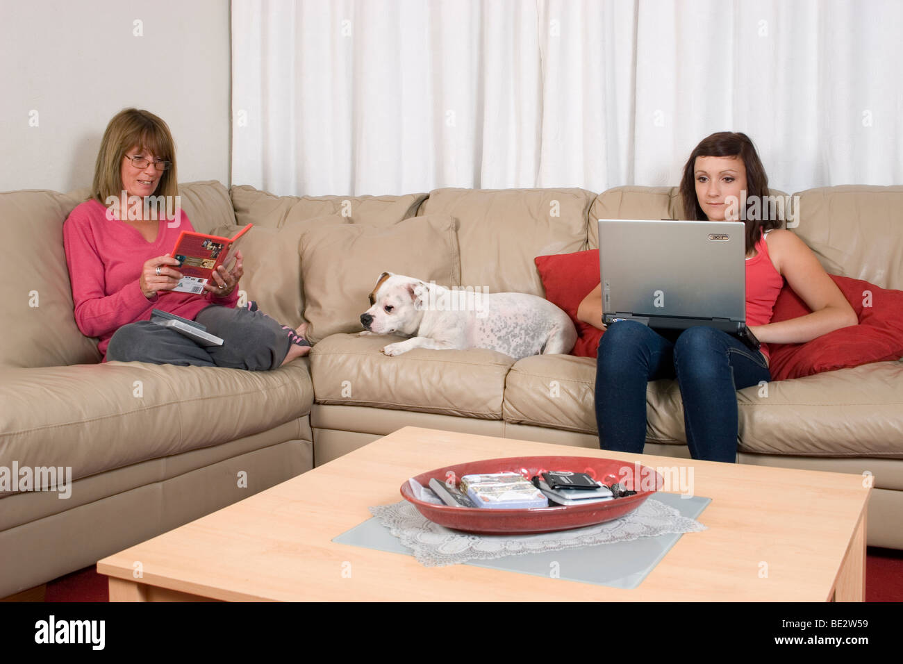 staffordshire bull terrier dog sitting between owners on sofa - Stock Image