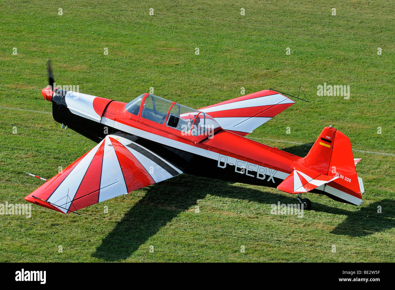 Czech sports and aerobatic aircraft Zlin Z-526, Europe's largest meeting of vintage planes at Hahnweide, Kirchheim - Stock Image