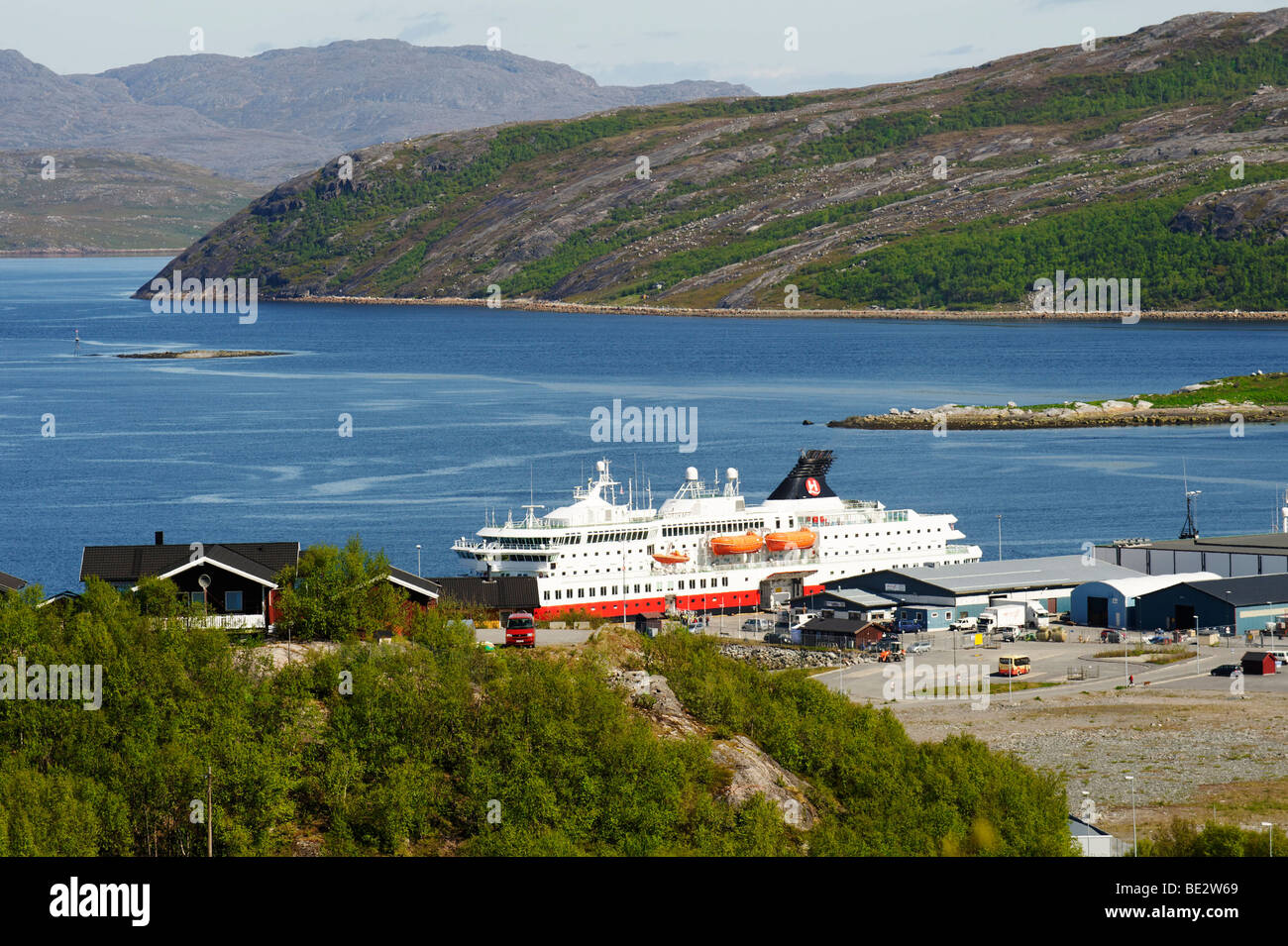 MS Nordkapp, Hurtigruten, port of Kirkenes, Norway, Scandinavia, Europe - Stock Image