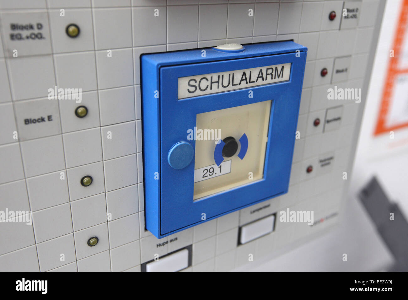 School alarm button, alarm signal sent to the head of the school in the case of an accident or a rampage - Stock Image