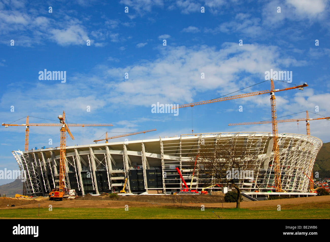 Soccer World Championship 2010, Green Point Soccer Stadium under construction, Cape Town, South Africa - Stock Image